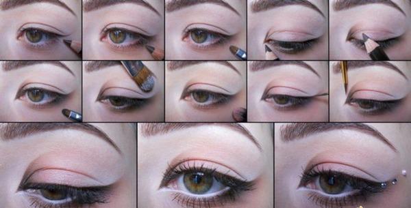 Новогодний макияж для карих глаз: поэтапно. Фото с сайта http://makeupgid.com