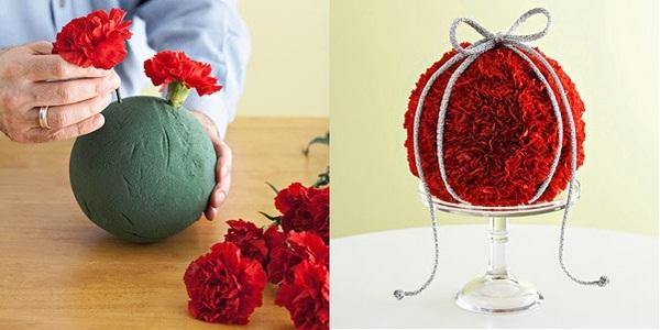 Эффектный шар из красных гвоздик. Фото с сайта http://women-on-line.ru/
