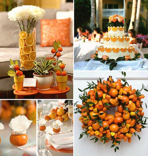 Оформление апельсиновой свадьбы. Фото с сайта my-svadba.ru