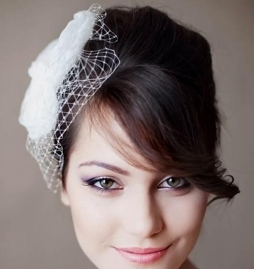 свадебные прически с челкой фото