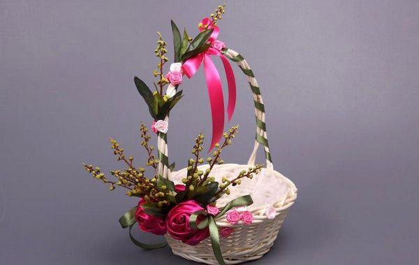 Декор соломенной корзины. Фото с сайта dom-podarka.ru