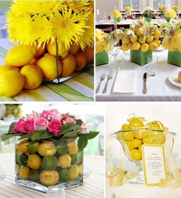 Цветы и фрукты в свадебном декоре. Фото с сайта happynuptials.ru