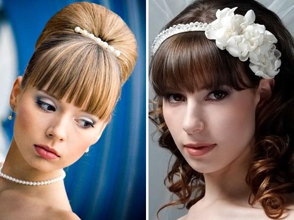 Торжественные прически на средние волосы фото с челкой