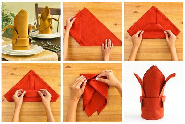 Так можно красиво сложить салфетку. Фото с сайта kdk-shop.ru