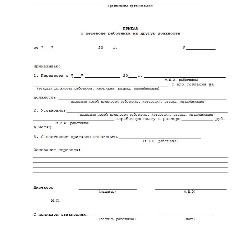 приказ о назначении руководителя проекта образец