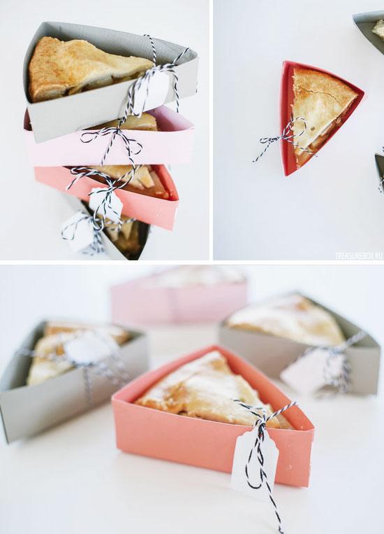 Красиво оформленные коробочки под кусочки торта