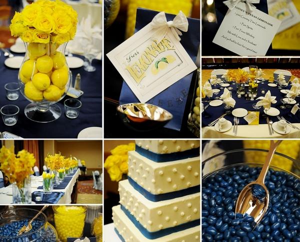 Глубокий синий и освежающий желтый в декоре свадьбы. Фото с сайта bweddingplanner.com