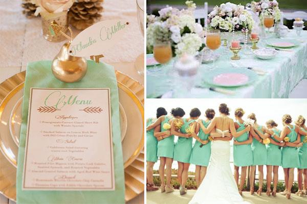 Стильные мятные детали на свадьбе. Фото с сайта wedding-story.by