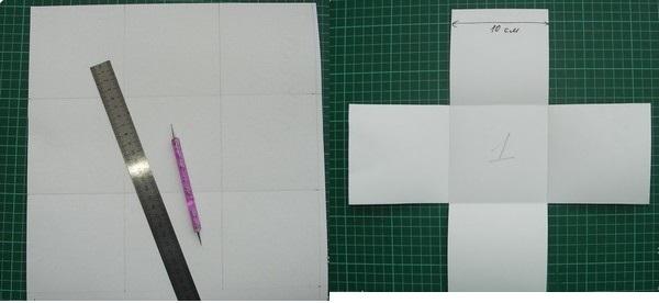 На листе картона чертим квадраты. Фото с сайта http://stranamasterov.ru