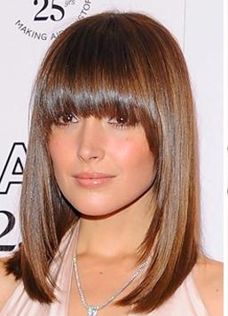 Причёска на волосы средней длины с чёлкой фото
