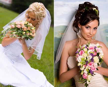 Свадебная прическа с фатой на средние волосы видео