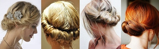 вечерние причёски на волосы до плеч с чёлкой фото
