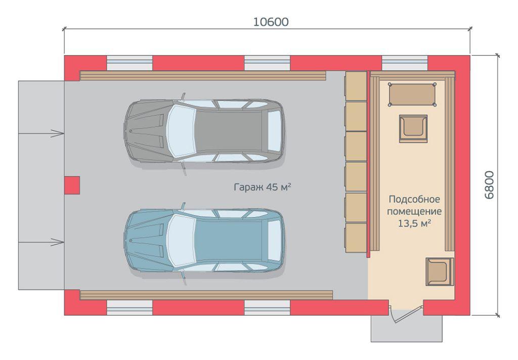 Проект двухместного гаража с хозблоком