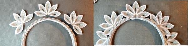 Приклеиваем цветочки к ободку — получается корона. Фото с сайта mnogo-idei.com